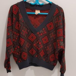 Vintage oversized knit crop sweater red